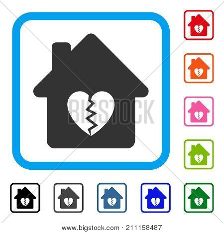 Divorce House Heart icon. Flat grey iconic symbol inside a blue rounded frame. Black, gray, green, blue, red, orange color additional versions of Divorce House Heart vector.
