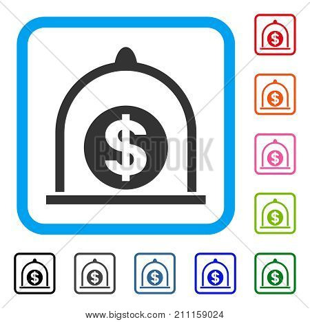 Dollar Standard icon. Flat gray pictogram symbol in a blue rounded rectangle. Black, gray, green, blue, red, orange color versions of Dollar Standard vector.