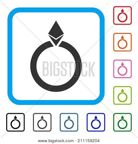 Ethereum Jewelry Ring icon. Flat gray pictogram symbol in a blue rounded square. Black, gray, green, blue, red, orange color additional versions of Ethereum Jewelry Ring vector.