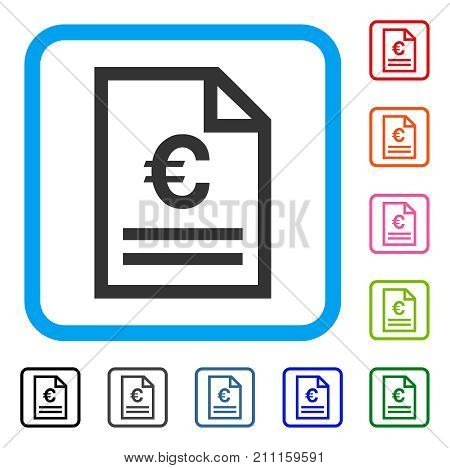 Euro Invoice Page icon. Flat grey pictogram symbol in a blue rounded frame. Black, gray, green, blue, red, orange color versions of Euro Invoice Page vector. Designed for web and app UI.