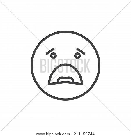 Anguished face emoticon line icon, outline vector sign, linear style pictogram isolated on white. Emoji smiley symbol, logo illustration. Editable stroke