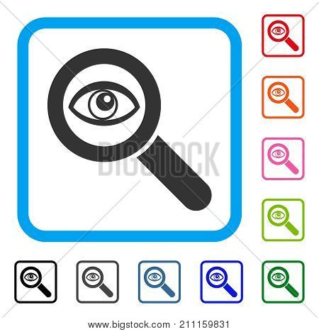 Eye Explore icon. Flat grey pictogram symbol in a blue rounded square. Black, gray, green, blue, red, orange color versions of Eye Explore vector. Designed for web and app UI.
