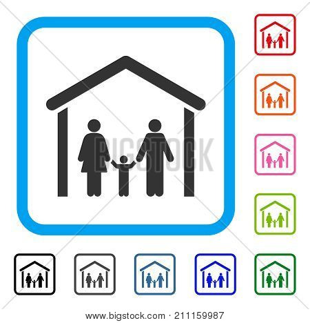 Family Cabin icon. Flat gray pictogram symbol inside a blue rounded square. Black, gray, green, blue, red, orange color versions of Family Cabin vector. Designed for web and app UI.