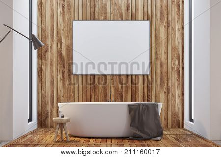 Dark Wooden Bathroom, Tub And Poster