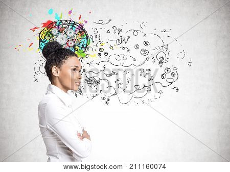 African American Woman In Jeans, Brain Cogs