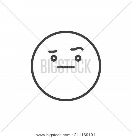 Face with raised eyebrow emoticon line icon, outline vector sign, linear style pictogram isolated on white. Emoji smiley symbol, logo illustration. Editable stroke