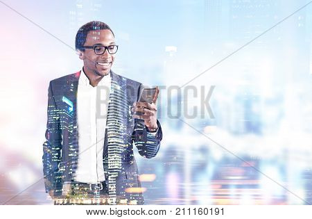 Smiling African American Man, Phone, City Office