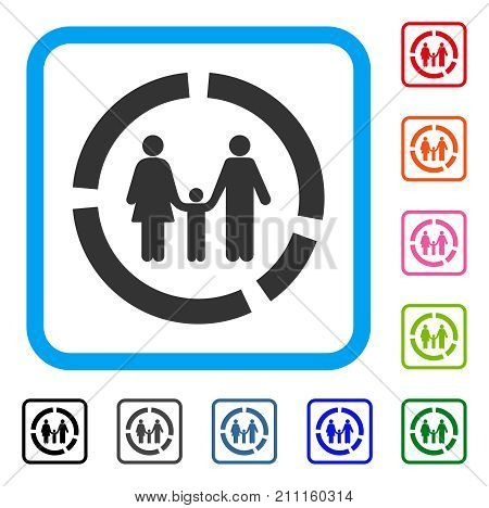 Family Diagram icon. Flat grey iconic symbol in a blue rounded rectangle. Black, gray, green, blue, red, orange color variants of Family Diagram vector. Designed for web and software user interface.