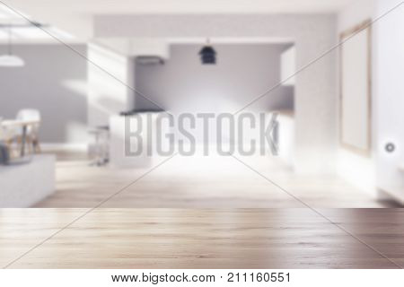 Gray, Wooden Kitchen, Dining Room, Poster Blurred