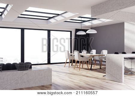 Kitchen And Living Room Interior With Gray Concrete Walls A Dining Table Cahirs Bar Stand Stools Wooden Floor Sofa