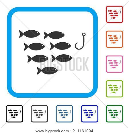 Fish Hook icon. Flat gray iconic symbol inside a blue rounded squared frame. Black, gray, green, blue, red, orange color versions of Fish Hook vector. Designed for web and app UI.
