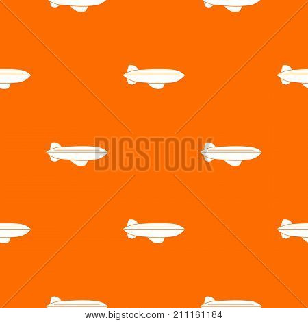 Blimp aircraft flying pattern repeat seamless in orange color for any design. Vector geometric illustration