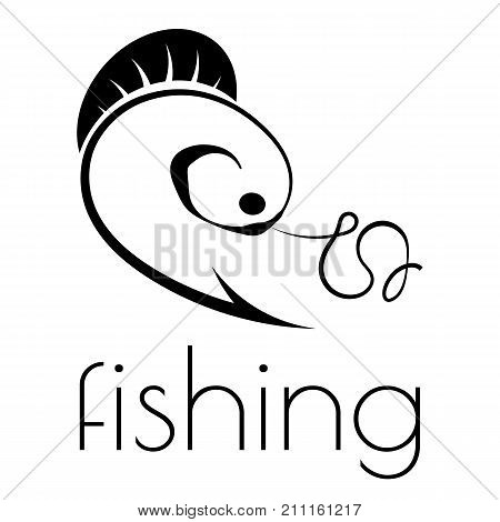 fishing emblem of hook, fishing line and fish on a white background