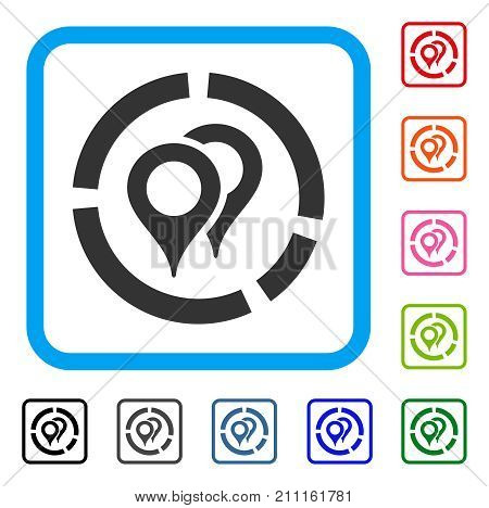 Geotargeting Diagram icon. Flat grey pictogram symbol in a blue rounded square. Black, gray, green, blue, red, orange color additional versions of Geotargeting Diagram vector.