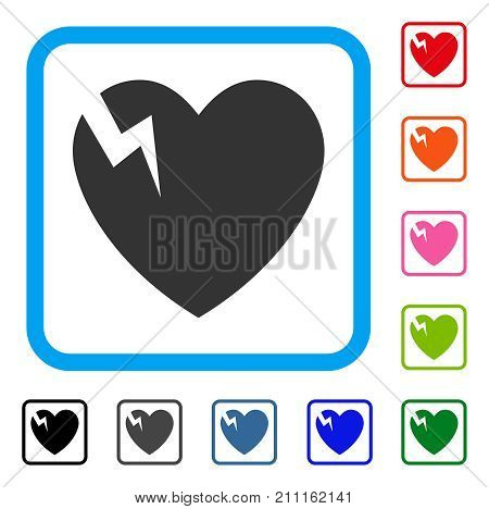 Heart Crack icon. Flat gray iconic symbol in a blue rounded squared frame. Black, gray, green, blue, red, orange color variants of Heart Crack vector. Designed for web and application user interface.