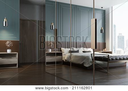 Blue Bedroom Interior Reflection