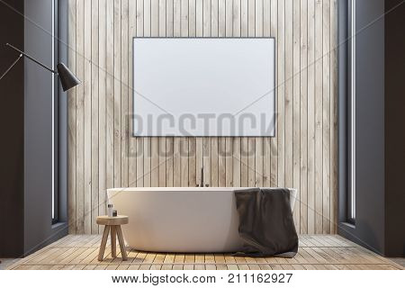 Wooden Bathroom, Tub And Poster