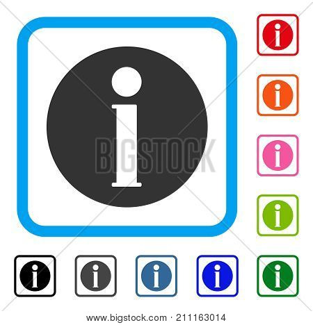 Info icon. Flat grey iconic symbol in a blue rounded square. Black, gray, green, blue, red, orange color versions of Info vector. Designed for web and software UI.