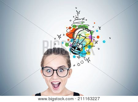 Astonished Girl In Round Glasses, Light Bulb