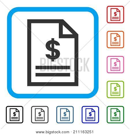 Invoice Page icon. Flat gray iconic symbol inside a blue rounded rectangular frame. Black, gray, green, blue, red, orange color versions of Invoice Page vector.