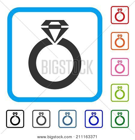 Jewelry Ring icon. Flat grey pictogram symbol in a blue rounded frame. Black, gray, green, blue, red, orange color variants of Jewelry Ring vector. Designed for web and software UI.