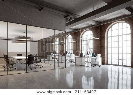 Brick Office, Arch Windows Corner