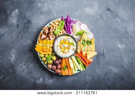 Hummus Platter With Assorted Snacks
