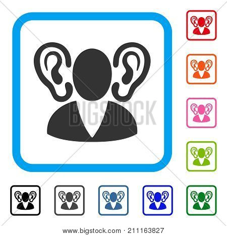 Listener icon. Flat grey pictogram symbol in a blue rounded square. Black, gray, green, blue, red, orange color variants of Listener vector. Designed for web and app user interface.