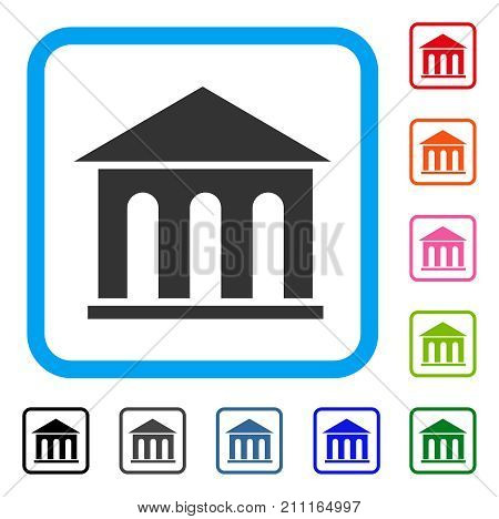 Museum Building icon. Flat gray iconic symbol inside a blue rounded rectangle. Black, gray, green, blue, red, orange color variants of Museum Building vector. Designed for web and application UI.