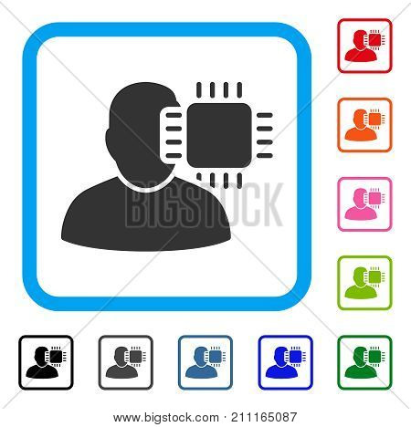 Neuro Interface icon. Flat grey pictogram symbol in a blue rounded squared frame. Black, gray, green, blue, red, orange color variants of Neuro Interface vector. Designed for web and app interfaces.