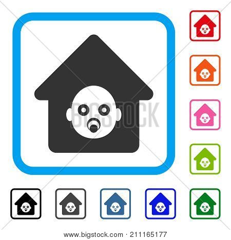Nursery House icon. Flat gray pictogram symbol in a blue rounded squared frame. Black, gray, green, blue, red, orange color variants of Nursery House vector. Designed for web and app user interface.