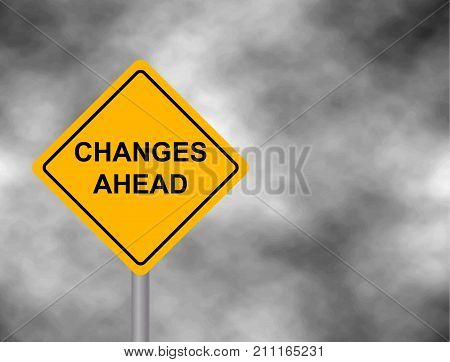 Yellow road sign as a warning of Changes Ahead. Background of dark grey sky with cumulus clouds and yellow banner. Vector illustration
