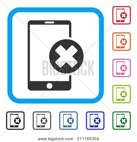 Phone Cancel icon. Flat gray iconic symbol in a blue rounded square. Black, gray, green, blue, red, orange color variants of Phone Cancel vector. Designed for web and application user interface.
