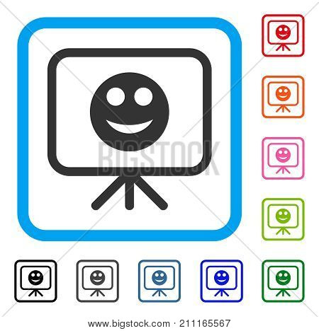 Presentation Board Smile icon. Flat grey iconic symbol inside a blue rounded square. Black, gray, green, blue, red, orange color additional versions of Presentation Board Smile vector.