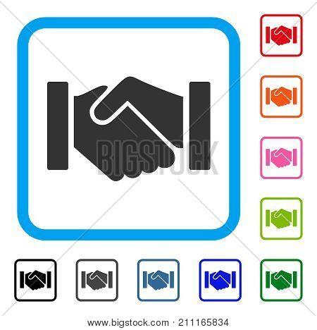 Relation Handshake icon. Flat grey pictogram symbol in a blue rounded rectangular frame. Black, gray, green, blue, red, orange color variants of Relation Handshake vector.