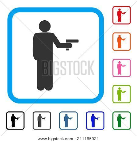 Robber With Gun icon. Flat grey iconic symbol in a blue rounded rectangular frame. Black, gray, green, blue, red, orange color versions of Robber With Gun vector.