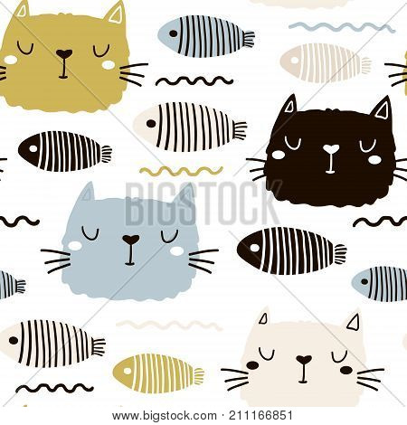 Seamless childish pattern with cute cat face and fish. Creative nursery background. Perfect for kids design fabric wrapping wallpaper textile apparel
