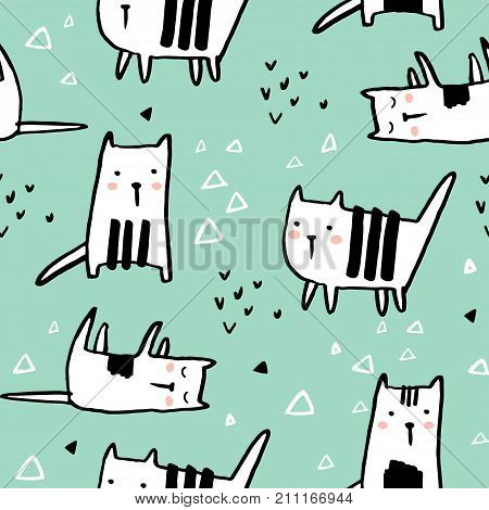 Childish seamless pattern with hand drawn cats. Trendy scandinavian vector background. Perfect for kids apparelfabric textile nursery decorationwrapping paper