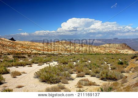 Wide open spaces of the Nevada desert in the southwestern United States.
