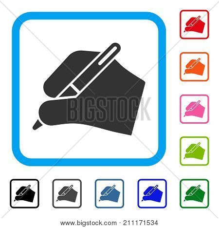Signature Hand icon. Flat grey iconic symbol in a blue rounded rectangle. Black, gray, green, blue, red, orange color versions of Signature Hand vector. Designed for web and software user interface.