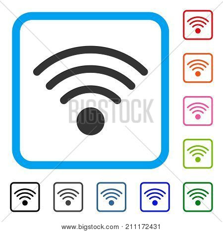 Wi-Fi Source icon. Flat grey iconic symbol inside a blue rounded squared frame. Black, gray, green, blue, red, orange color variants of Wi-Fi Source vector. Designed for web and software interfaces.