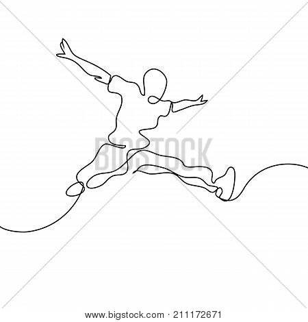Continuous Line Drawing. Happy Jumping Man