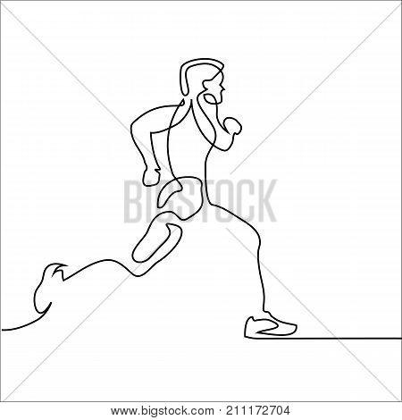 Sport Running Man On White Background.