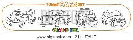 Sedan, hatchback, retro taxi car and offroader. Small funny vector cute cars with eyes and mouth. Coloring book set for kids. Children vector illustration