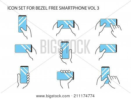 Hand holding modern bezel free smartphone with frameless touchscreen in different variations. Flat design with multiple thin line vector icons.