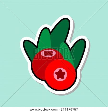 Cowberry Sticker On Blue Background Colorful Fruit Icon Vector Illustration
