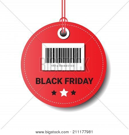 Black Friday Sale Round Tag With Bar Code Isolated On White Background Vector Illustration