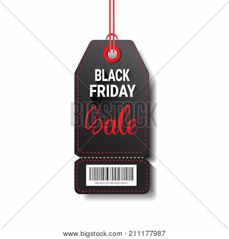 Black Friday Sale Shopping Tag With Bar Code Isolated On White Background Vector Illustration