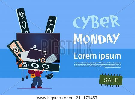 Man Holding Tv Plasma And Modern Electronics Gadgets Cyber Monday Sale Banner Design Concept Vector Illustration