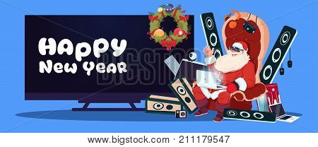 Happy New Year Banner With Santa Claus Sitting With Modern Electronics Gadgets And Plasma Tv On Background Vector Illustration